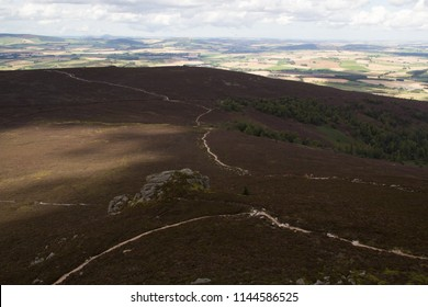 Bennachie, Aberdeenshire, Scotland - July 2016: Views from the top of the mountain looking over Aberdeenshire