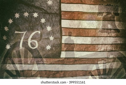 Bennington Flag Americana. A version of the American flag associated with the American Revolution Battle of Bennington. With silhouettes of a solider, cannon and the liberty bell.