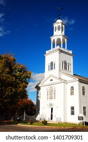 Bennington, VT, USA October 11, 2012 The First Congregational Church in Bennington, Vermont stands in stark contrast to the colorful fall foliage