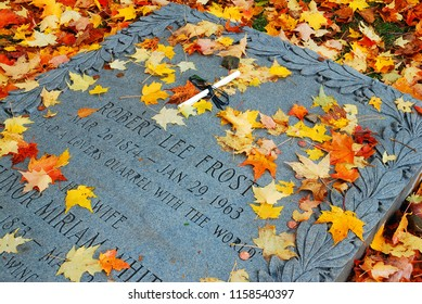 Bennington, VT, USA October 15, 2010 Leaves fall on poet Robert Frost's grave in Bennington, Vermont