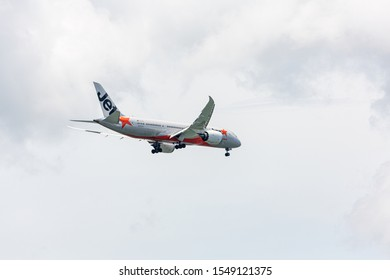 Benoa, Bali, Indonesia - 17 February 2017: An airplane of JETSTAR on final approach at Ngurah Rai Airport (also known as Denpasar Airport)