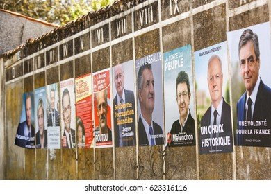 Benon, France- April 18, 2017 : Campaign posters for the 2017 french presidential election in a small village