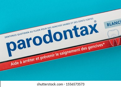 Benon, France - November 10, 2019:Closeup on box of toothpaste Parondontax. It contains a formulation for the treatment of gingivitis, parontontitis or for halitosis problems