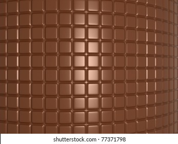 Bent chocolate bar. Useful as confectionery background