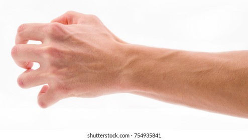 Bent fingers on palm on white isolated background