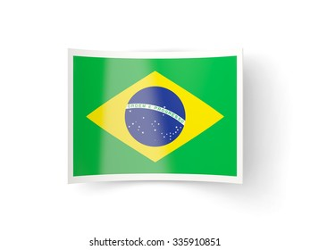 Bent icon with flag of brazil isolated on white