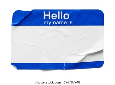 Bent and Used Name Tag Isolated on White Background.