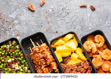 Bento Box or Lunch Box with Healthy Food Take Away for Office or Work Lunch.
