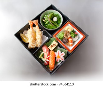 bento box on metal background