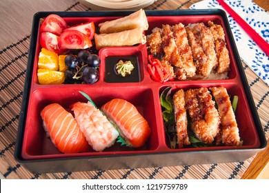 Bento box with sushi and katsu