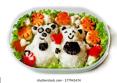 Bento in the form of bears in a box on a white background