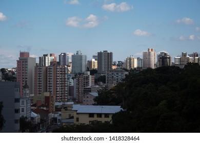 Bento Goncalves, Rio Grande do Sul, Brazil - June 02, 2019 - Horizon view of city - skyscrappers buildings