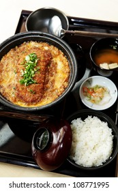 Bento, Japanese food style ,Rice with Chicken fire set and soup