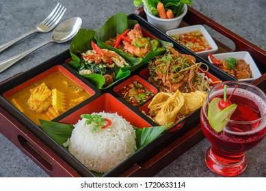 bento thai style, thaifood in bento