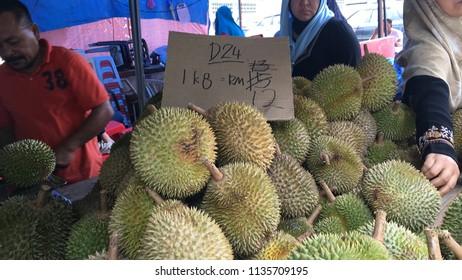 Bentong, Malaysia - July 16, 2018: Durian stall  at Bentong, Malaysia.