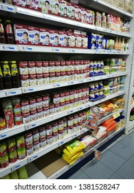 Bentong, Malaysia-april 26,2019 :Image of campbells mushroom soup cans and oxtail soup on the supermarket shelf, campbells is an american producer of canned soups and related product.