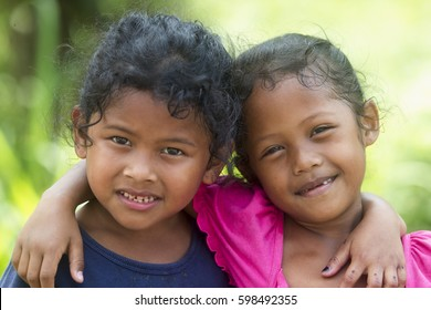 BENTONG, PAHANG MALAYSIA - 11 MARCH 2017:  A cheeky smile of Orang Asli children in Kampung Hulu Chemperoh.  Orang asli they're the earliest known inhabitants of the Malaysian peninsula.