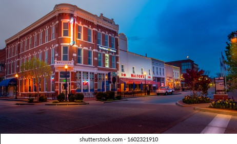 Bentonville, AR—April 10, 2019; Ford pickup truck that was owned by Sam Walton sits in front of his first store which is now a museum and led to foundation of Walmart headquartered in town today.