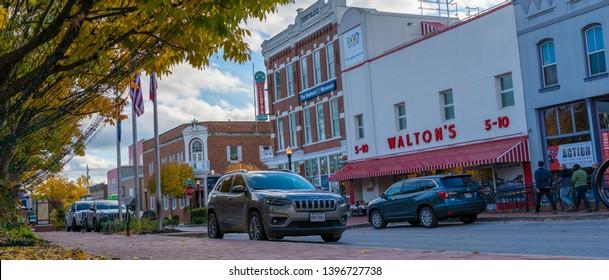 Bentonville, Arkansas / USA - November 04 2018: View of Walmart Museum downtown Bentonville, Northwest Arkansas, Sam Walton legacy, small american town
