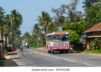 BENTOTA, SRI LANKA - DECEMBER 31, 2015: Regular public bus. Buses are the most widespread public transport type in Sri Lanka.