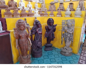 Bentota, Sri Lanka - May 04, 2018: Traditional handmade goods for sale in a souvenir shop. Samadhi shopping mall souvenir store in Sri Lanka