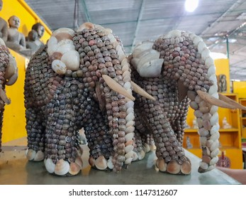 Bentota, Sri Lanka - May 04, 2018: Elephant is made of snails and shells. Traditional handmade goods for sale in a souvenir shop. Samadhi shopping mall souvenir store in Sri Lanka