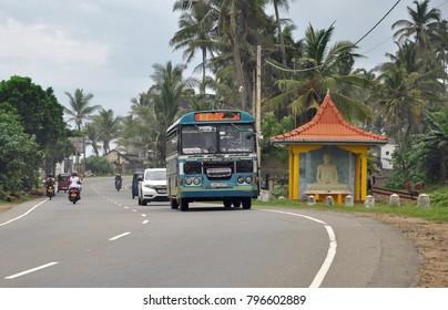 Bentota / Sri Lanka - November 2017: Traffic on Sri Lanka road