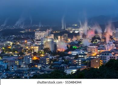 Beppu city in Japan at night