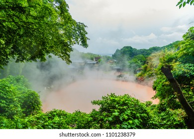 Beppu, Japan - 28MAY2018 - Red boiling pool in the hells of beppu.