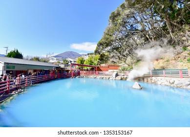 Beppu, Japan - MARCH 14, 2019: Cobalt Blue Hell Pond of Kamado Jigoku in Beppu