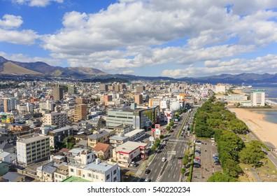 BEPPU-DEC,21:View of Kannawa town from Beppu tower Where is located in Beppu Oita Prefecture on the island of Kyushu.The city of hell springs pond where have many tourist visiting.JAPAN DEC,21 2016