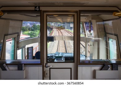 "BEPPU,JAPAN - MAY 29: Driver cabin of tourist train ""Yufuin no mori (Forest of Yufuin city)"" at Beppu station on May 29 , 2014 in Beppu city, Japan. It is the most popular tourist train in Japan."