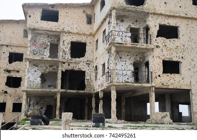 Beqaa, Lebanon, April 04 - 2017: Marks of War, Lebanese house machine-gunned, bombed, destroyed by civil war, conflict zone, Lebanon mountains.