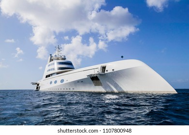 Bequia, St.Vincent and Grenadines, 12-15-2017, Motor yacht A, owner Roman Abramovich, russian oligarch and billionaire
