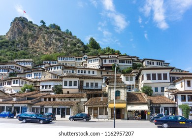 Berat, Albania - 18 August 2018: View of the typical old houses of Berat