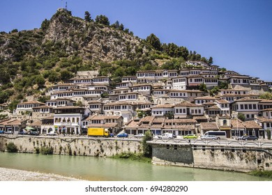 BERAT, ALBANIA - July 2017: Historical town Berat, ottoman architecture in Albania, Unesco World Heritage Site. Old stone houses in Berat, Albania