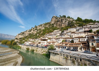 Berat, Albania. Traditional houses by the river