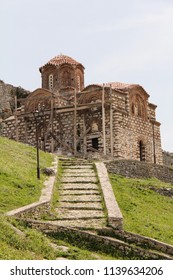 BERAT, ALBANIA-APR. 7, 2016:  The Church of the Holy Trinity, in restoration, at the UNESCO World Heritage site in the old town of Berat.