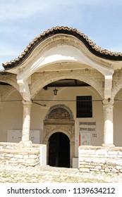 BERAT, ALBANIA-APR. 7, 2016:  , The exterior of Saint Demetrius' Church in Berat, became a cultural monument in Albania in 1977.