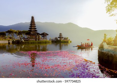 Beratan Lake in Bali Indonesia,  6 March 2017 : Balinese villagers participating in traditional religious Hindu procession in Ulun Danu temple Beratan Lake in Bali Indonesia