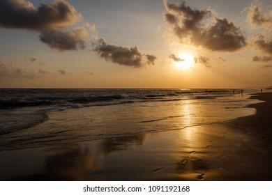 Berawa beach (Pantai Berawa) at sunset. Canggu, Bali, Indonesia.