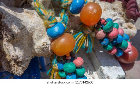 Berber necklaces at a street market in Morocco.