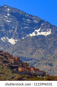 Berber Village at the base of Jbel Toubkal peak in the High Atlas Mountains, Morocco, Africa