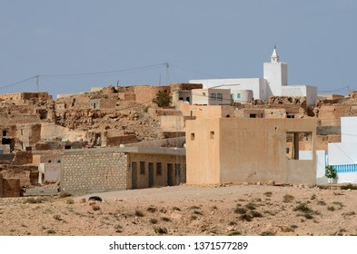 Berber village Tamezret Gabes province mosque hot desert of North Africa in Tunisia
