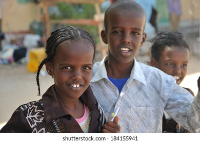BERBERA, SOMALIA - JANUARY 10, 2010:Unidentified Somalis in the streets of the city of Berbera. Berbera is a city on the North-West of the state of Somalia, with  sheltered Harbor in the Gulf of Aden.