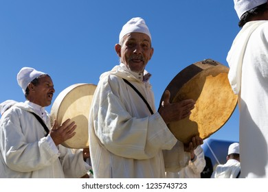 Berberian village, Morocco - October 7, 2018:  A group of old berbers play traditional folk music during the Ultra Trail Atlas Toubkal race.