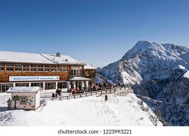 Berchtesgaden -  Bavaria - Germany, 26. December 2017: Berchtesgaden Alps at the mountain station of the Jennerbahn, Berchtesgaden National Park