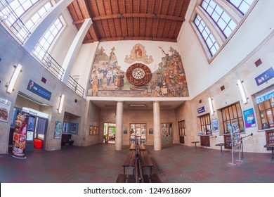 Berchtesgaden, Bavaria / Germany - October 2018: Central railway station in Berchtesgaden that once had a reception area for Hitler and his guests, and an adjacent post office.