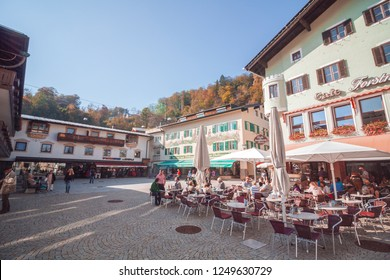 """Berchtesgaden, Bavaria / Germany - October 2018: Alpine town in Bavaria that once was a home for Adolf Hitler. Here started also his way up to the """"Eagle's nest"""""""