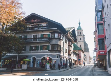 """Berchtesgaden, Bavaria / Germany - October 2018: Alpine town in Bavaria that once was a home for Adolf Hitler. Here started also his up way to the """"Eagle's nest"""""""